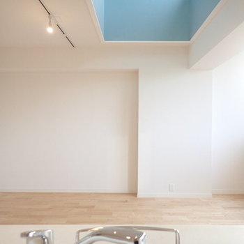 キッチンからの眺めはこんな感じ。