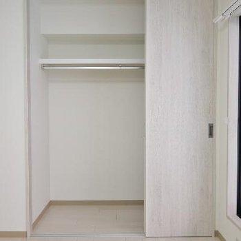 引き戸の収納と観音開きの収納2つあります