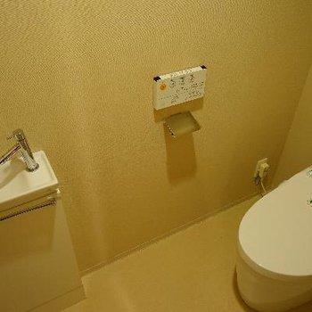 トイレには小さな手洗い場も♪