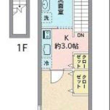 2階が生活スペースのメゾネットタイプです