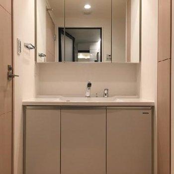 大きな鏡の洗面台。ここが脱衣所にも!