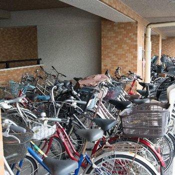 駐輪スペースは屋根付きで安心