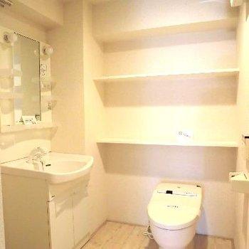 ひろーーい水回り。何段にも連なるトイレ後ろの棚が好きです。