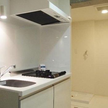 キッチン奥に洗濯機置場とシャワールーム