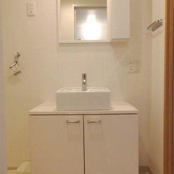 ちょこんと、洗面台。鏡の隣は収納です。※画像は同テイストの別室