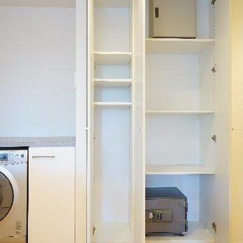裏にはドラム洗濯機とたくさんの収納が!