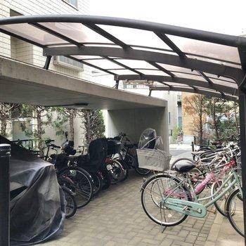 敷地内には屋根付きの駐輪場や、