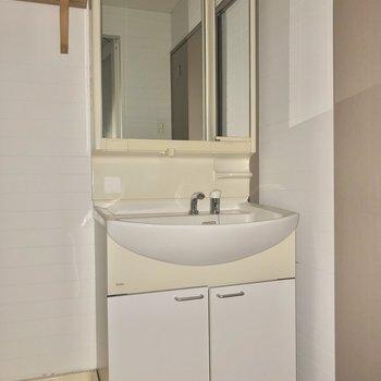 鏡の大きな洗面台。※写真は通電前・フラッシュを使用しています