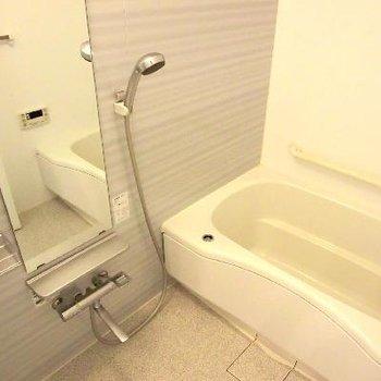 ピッカピカのお風呂。シルバー色珍しい!