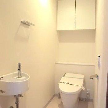 小さな洗面台のついた、トイレも広い!!!