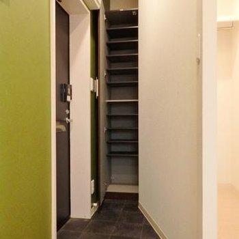 玄関部分。細長い靴箱が付いています。