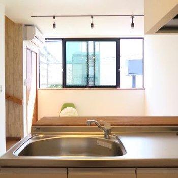キッチン越しの風景。