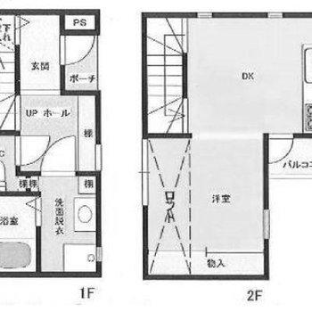 ※反転タイプ。1階は水回り、2階はロフト付きお部屋。