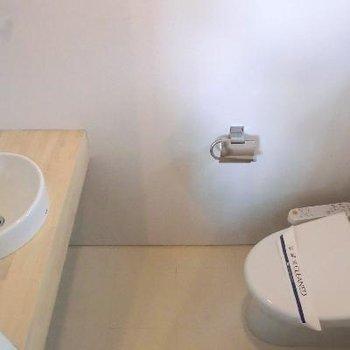 トイレは下階にあります。洗面台は上階なので、しっかりとしたミニ洗面台がここに◎