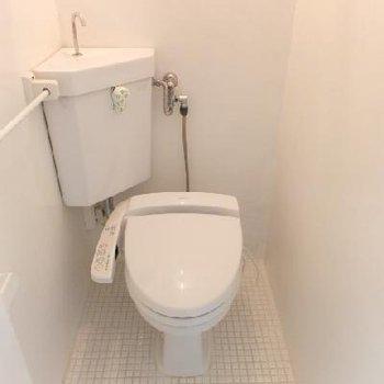 トイレは個室。レバーが花柄なんです