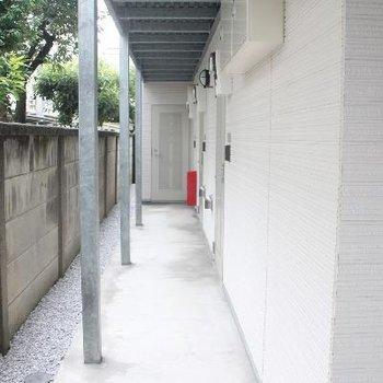 白いコンクリが眩しい共用廊下