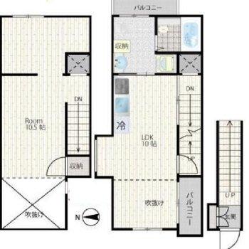 1階が玄関。2階がロフト付きのメインスペース