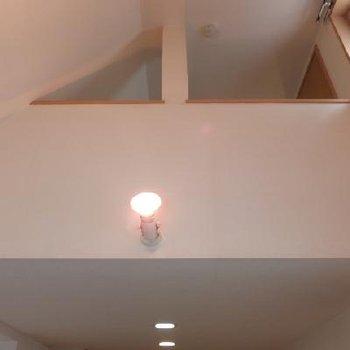 一部吹き抜けていて天井が高く開放的