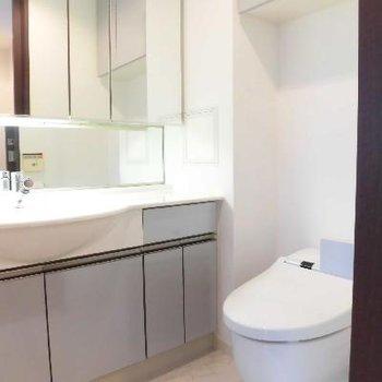 壁いっぱいに洗面台です
