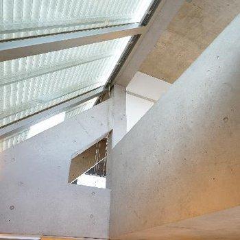 天井が吹き抜けていて開放的!天窓たくさん!