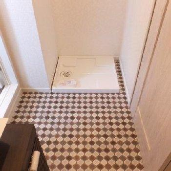 お風呂前に洗濯機置場。ここで脱衣することになります