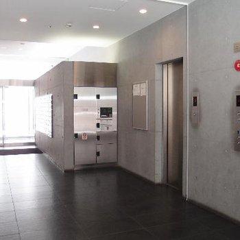 1階エレベーターホール。宅配ボックスもあります!