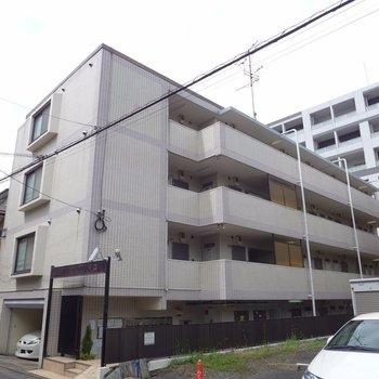 通りを一本挟んだ住宅地に建つマンションです