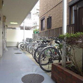 自転車置き場、屋根がありません