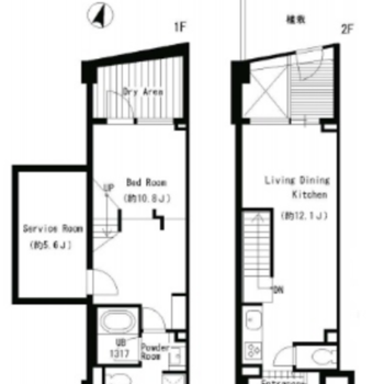 2階部分から入って1階に降りていくタイプのメゾネット