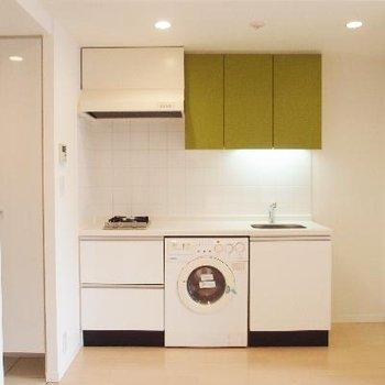 キッチンのグリーンが可愛い~