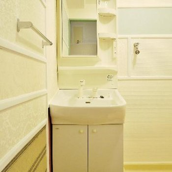 洗面所も壁までクラシカル!
