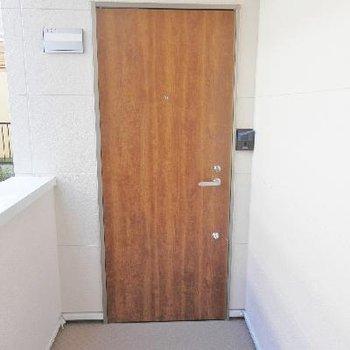 玄関扉はナチュラルデザイン。