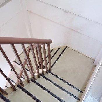 その奥の扉から共有部の階段へ。