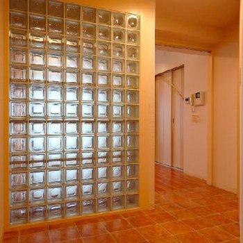 玄関〜廊下にかけてはテラコッタ風の床