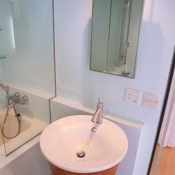 存在感がすごい洗面台も印象深い。