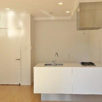 対面キッチンカウンターがカッコ良い!そして、冷蔵後と食器棚のスペースも確保されてます!計算物件!!