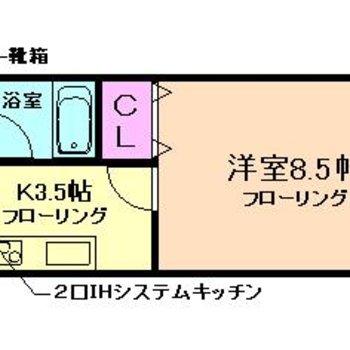 フルフラットの1K ※お部屋は反転タイプです。
