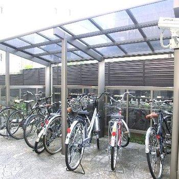 駐輪場も完備。