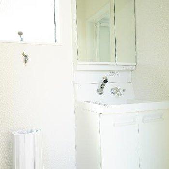 独立洗面台の横に洗濯機もうれしいです!