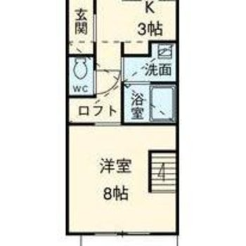 1階にテラス、8帖の洋室、2階にロフト