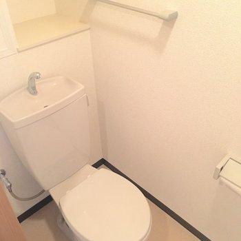 トイレは綺麗。棚があるのもうれしい。