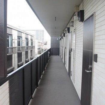 玄関前の共用廊下。突き当りが206号室です