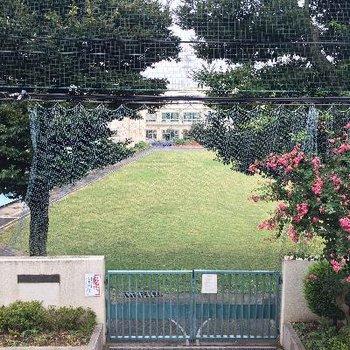 目の前は小学校です。楽しそうな声が聞こえてきます。