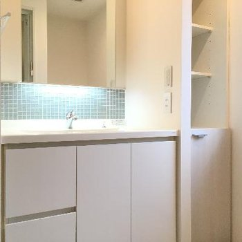 洗面台の脇にも小さな収納が