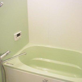 グリーンの浴槽。