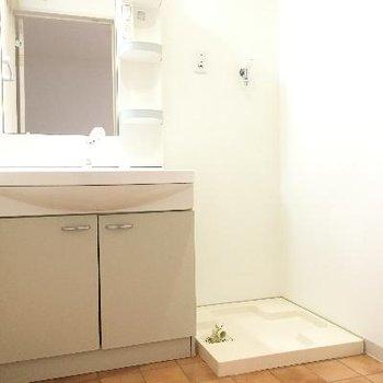 洗面台と洗濯機置き場です!