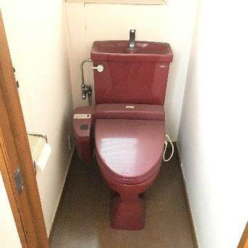 ワインレッドのレトロなトイレ!