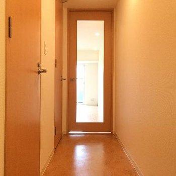 廊下です!シンプルですが白い壁とフローリングが綺麗で清潔感があります