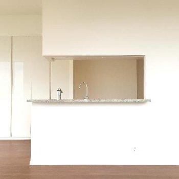 キッチンもカウンタのような形になっています