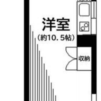 縦長の形のワンルームです。